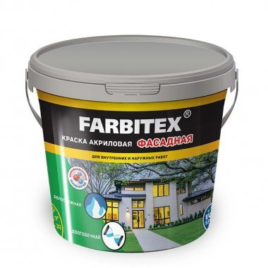 Краска акриловая фасадная белая Farbitex 6 кг