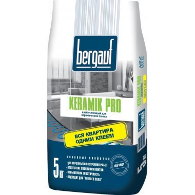 Клей для плитки Bergauf Keramik Pro усиленный 5 кг